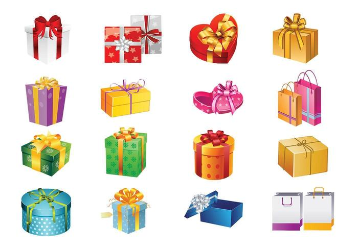 Conjunto de caixas de presente e sacos de vetor