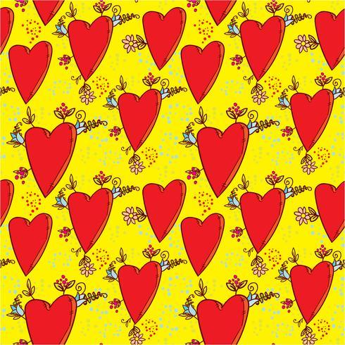 Padrão sem emenda com corações e flores com um esboço de gráficos de estilo doodle vetor