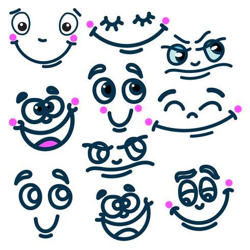 Conjunto de emoções de cara de desenho animado vetor