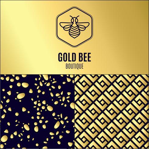 inseto. Badge Bee para identidade corporativa vetor