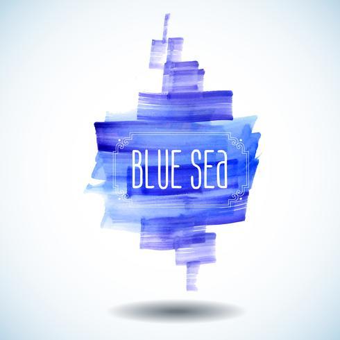 mar azul abstrato aquarela vetor