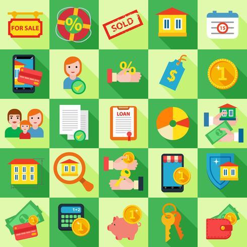 Conjunto de ícones Empréstimo de hipoteca. vetor