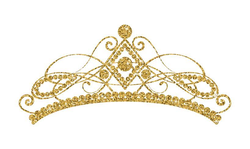 Diadema Brilhante. Tiara dourada isolada no fundo branco. vetor