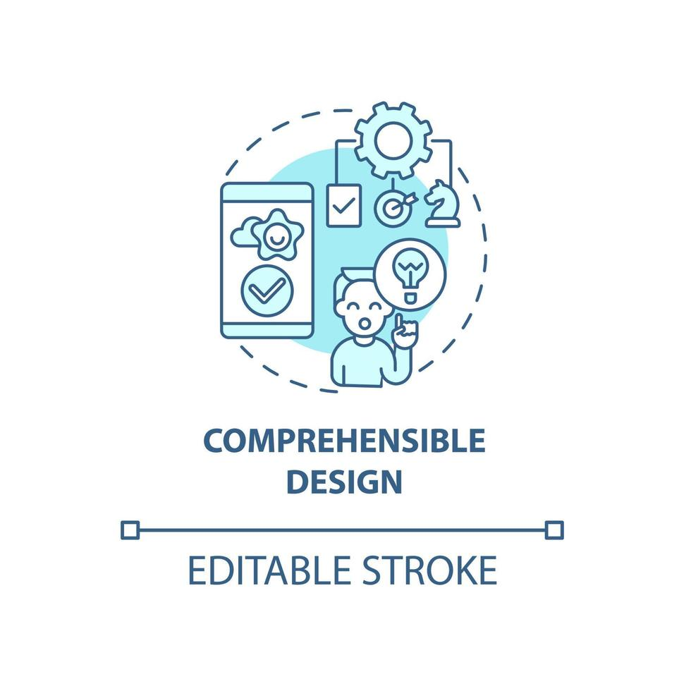 ícone de conceito de design compreensível vetor