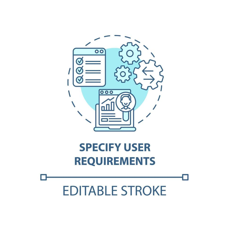 especificar ícone de conceito de requisitos de usuário vetor