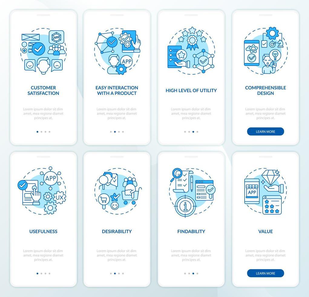 conjunto de telas de páginas de aplicativos móveis de integração de desenvolvimento de aplicativos vetor