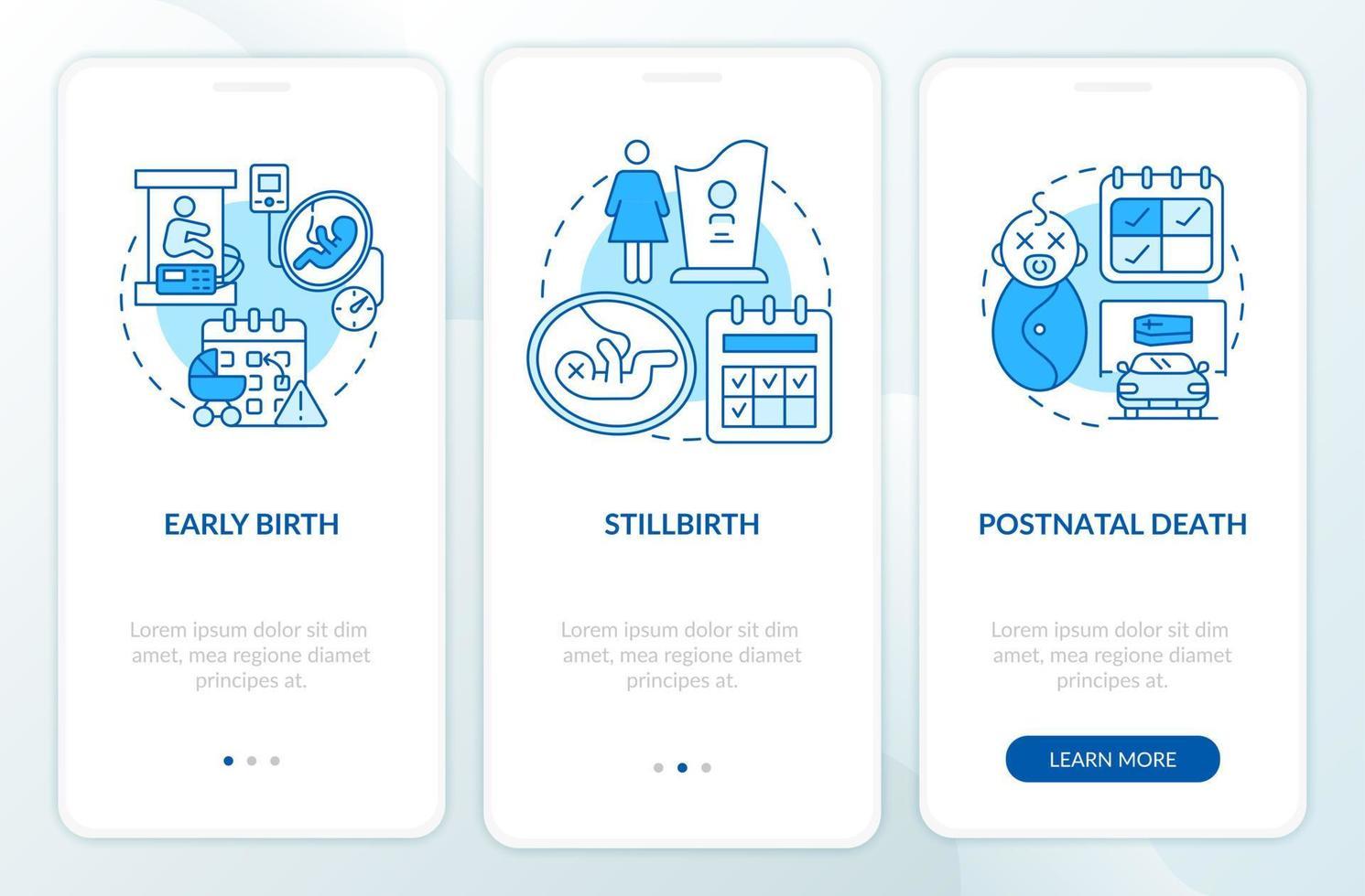 casos de direito a licença maternidade tela azul da página do aplicativo móvel de integração vetor
