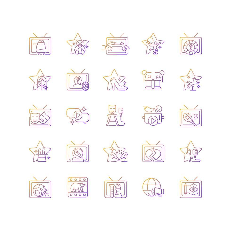 conjunto de ícones de vetor linear gradiente programa de tv