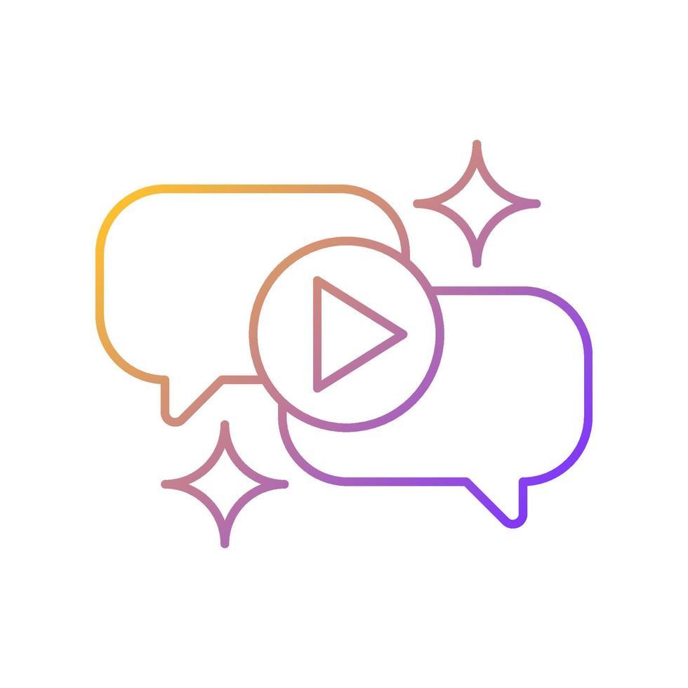 ícone de vetor linear gradiente de talk show