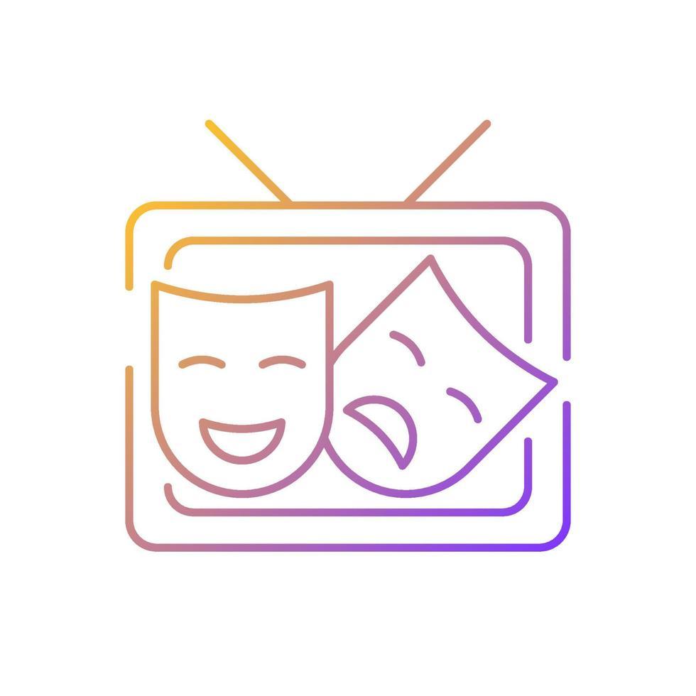 ícone de vetor linear gradiente tv drama