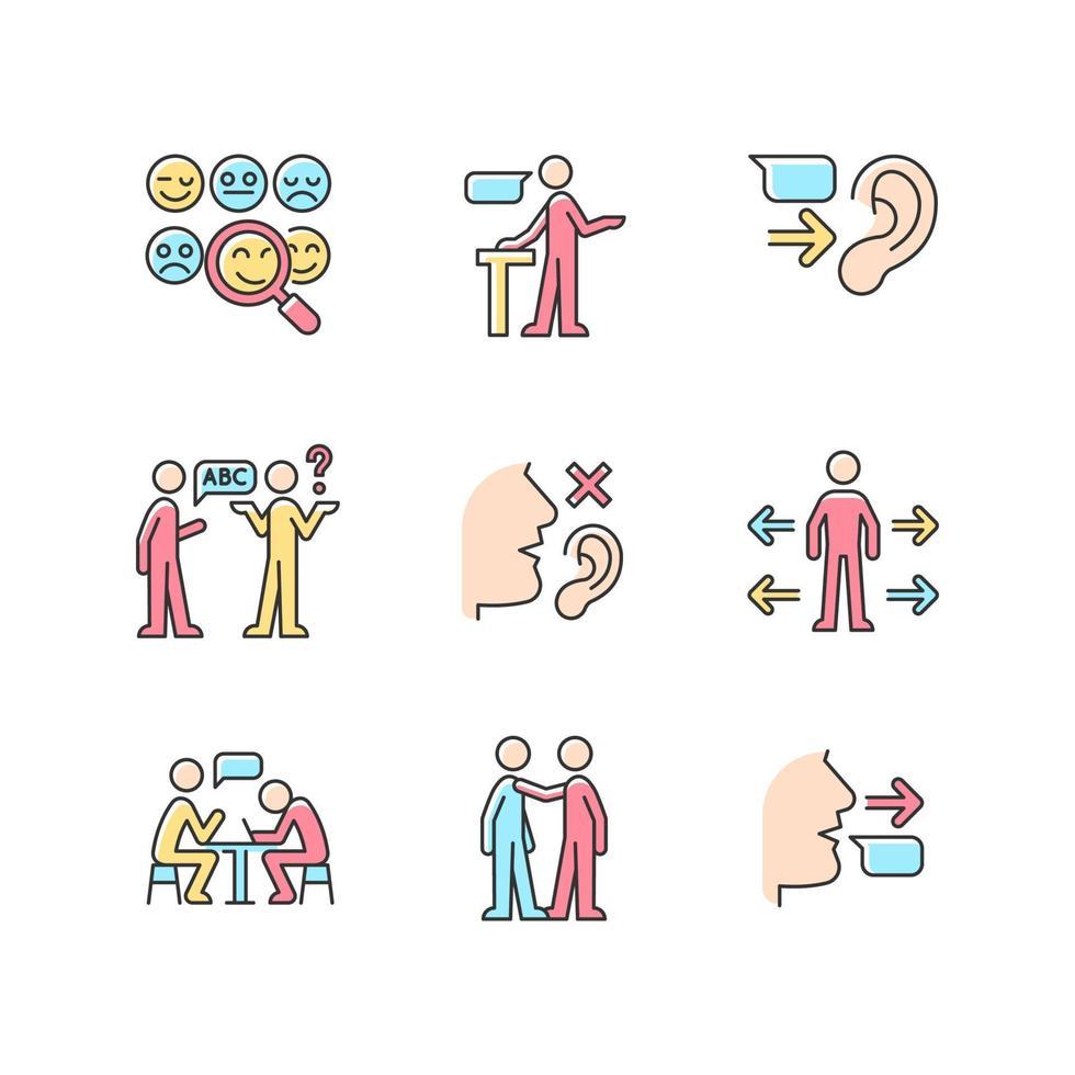 conjunto de ícones de cores rgb de comunicação eficaz vetor