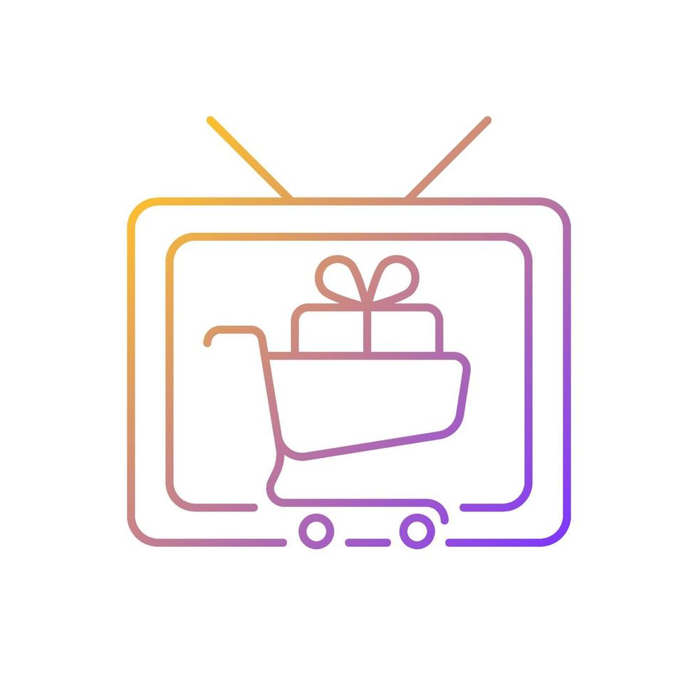 ícone de vetor linear gradiente show de compras