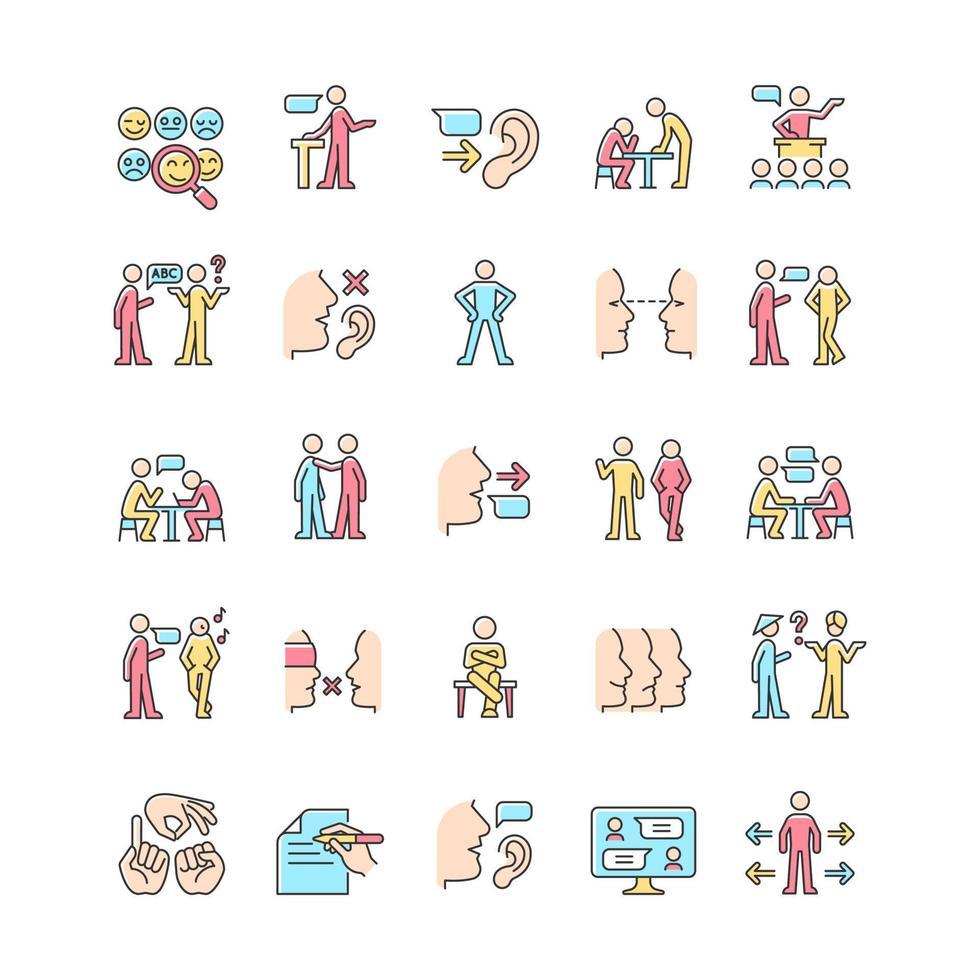 conjunto de ícones de cores rgb do canal de comunicação vetor