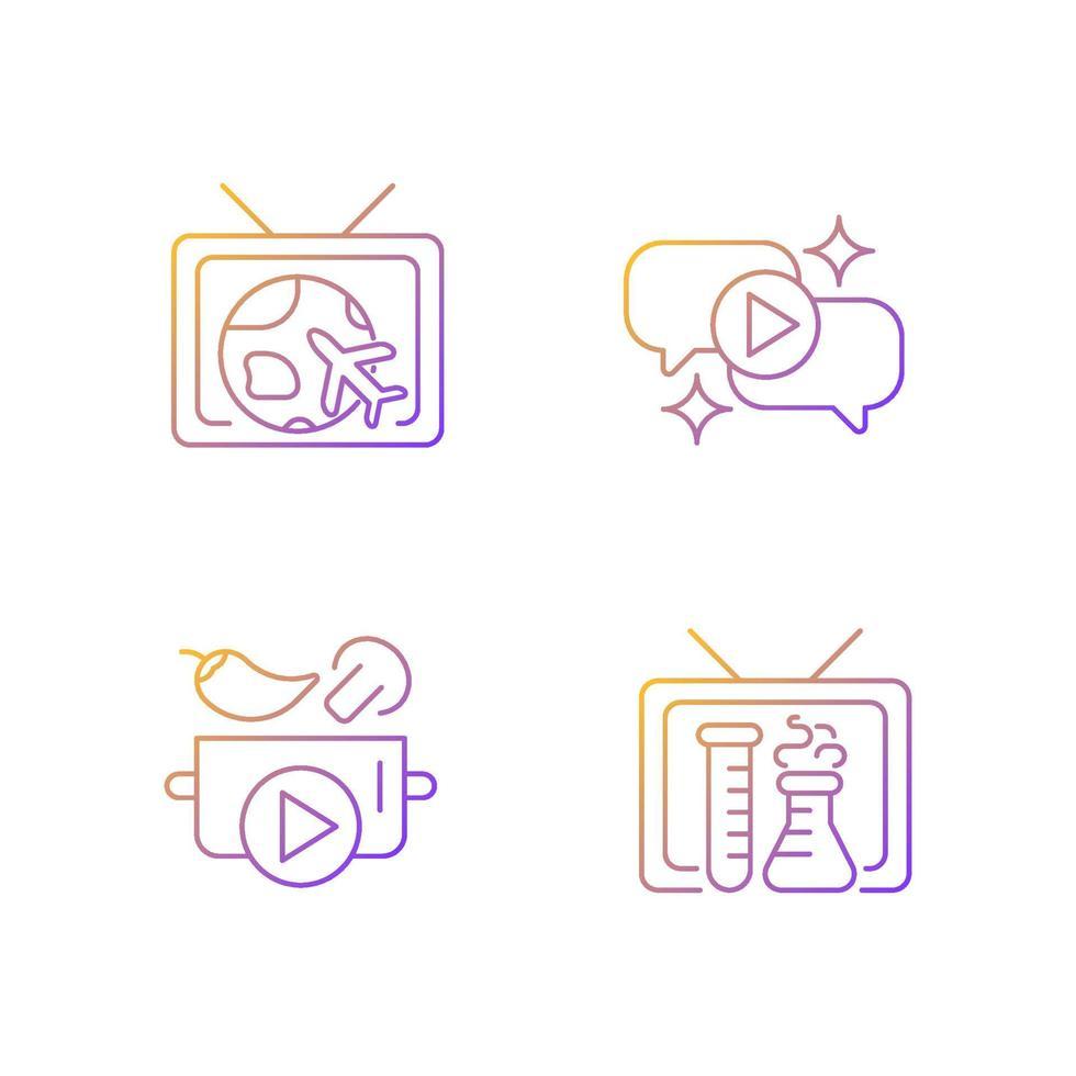 conjunto de ícones de vetor linear gradiente série de tv