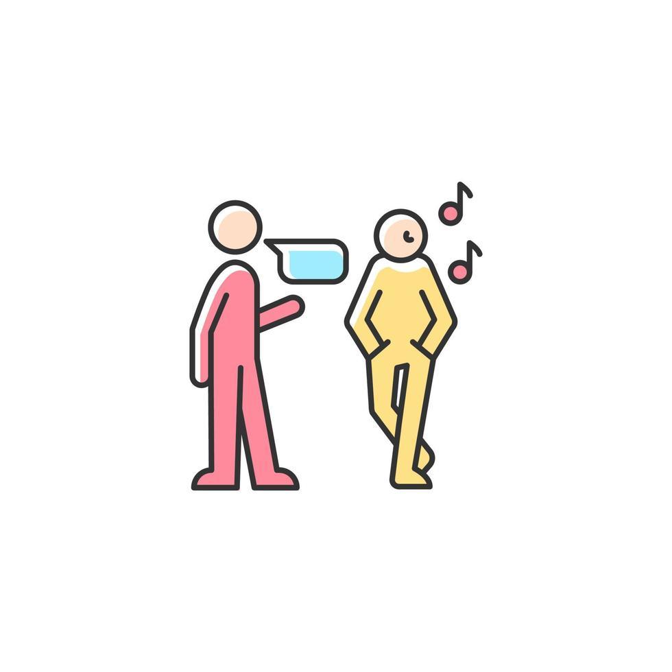 ícone de cor rgb de escuta desatenta vetor