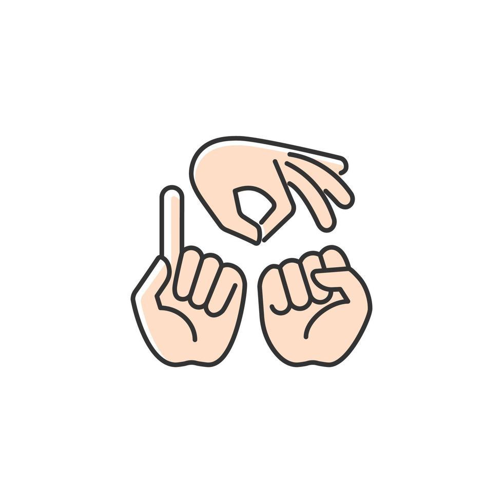 gestos na comunicação ícone de cor rgb vetor