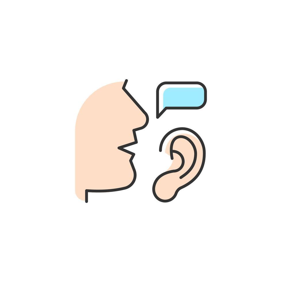 ícone de cor rgb de audição ativa vetor