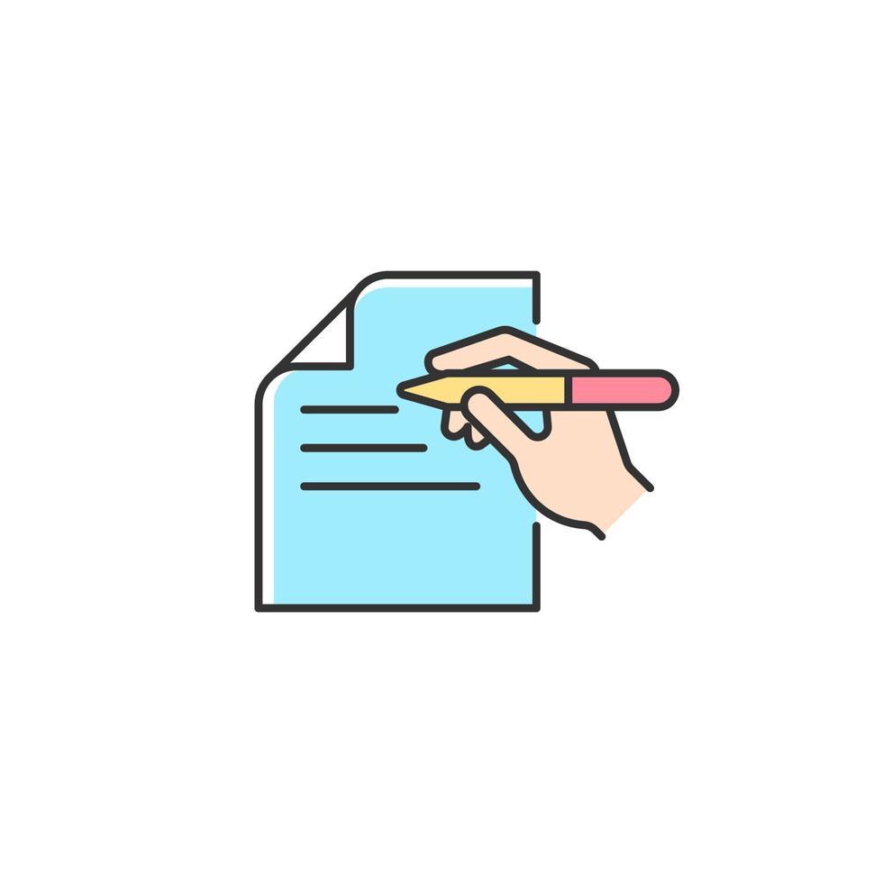 ícone de cor rgb de comunicação escrita vetor