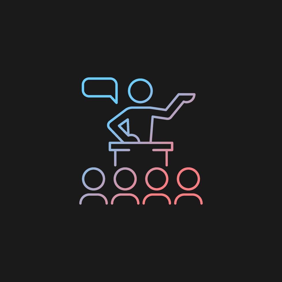 ícone de gradiente de comunicação pública para tema escuro vetor