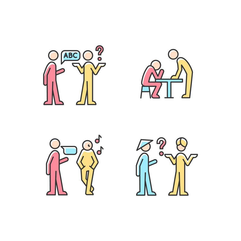 comunicar informações de forma eficaz conjunto de ícones de cores rgb vetor