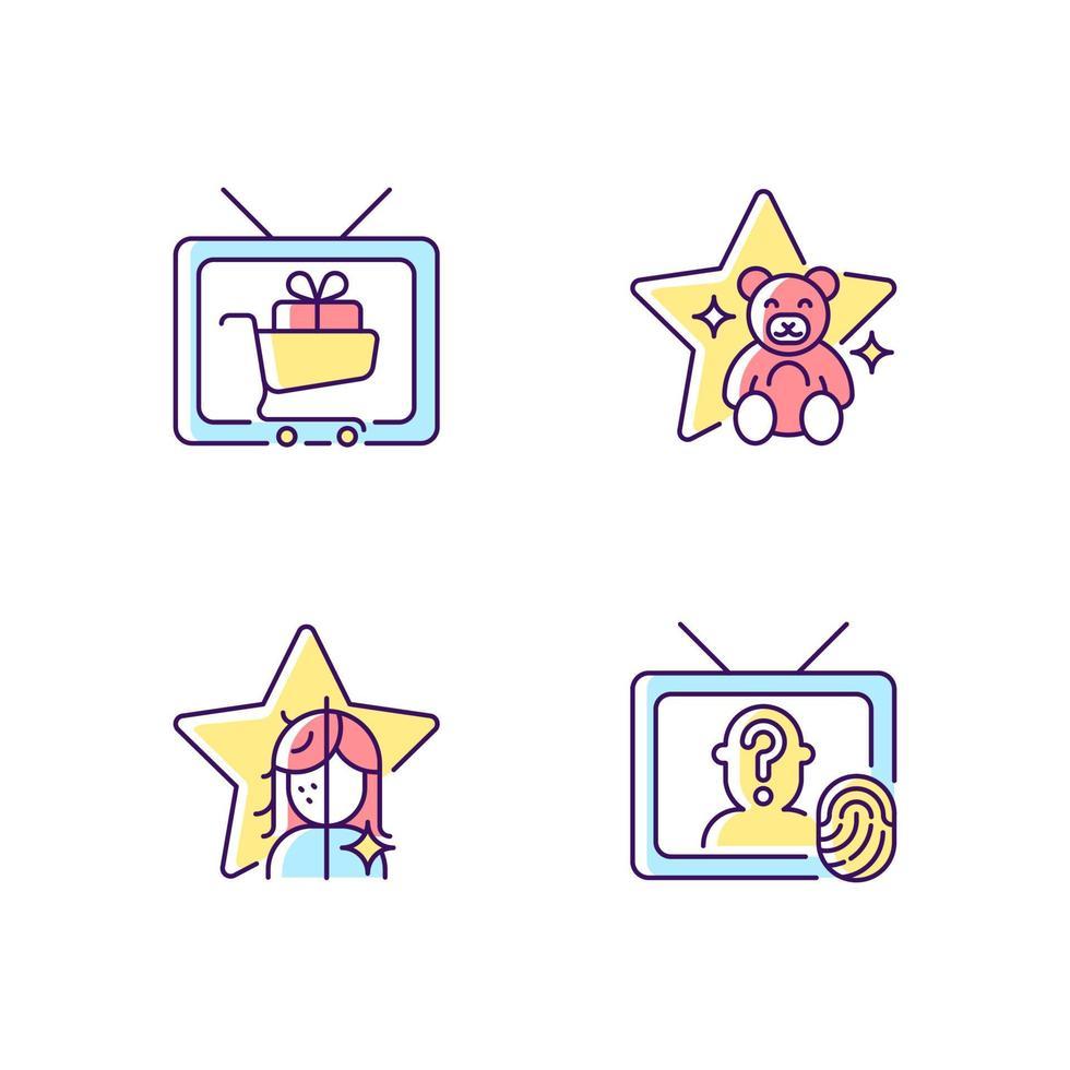 conjunto de ícones de cores rgb da televisão vetor