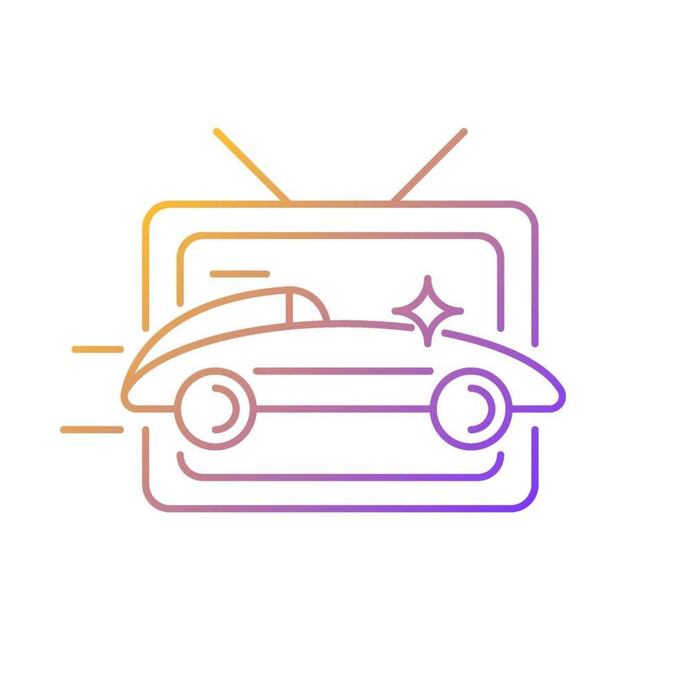 ícone de vetor linear gradiente de programa de corrida de carros