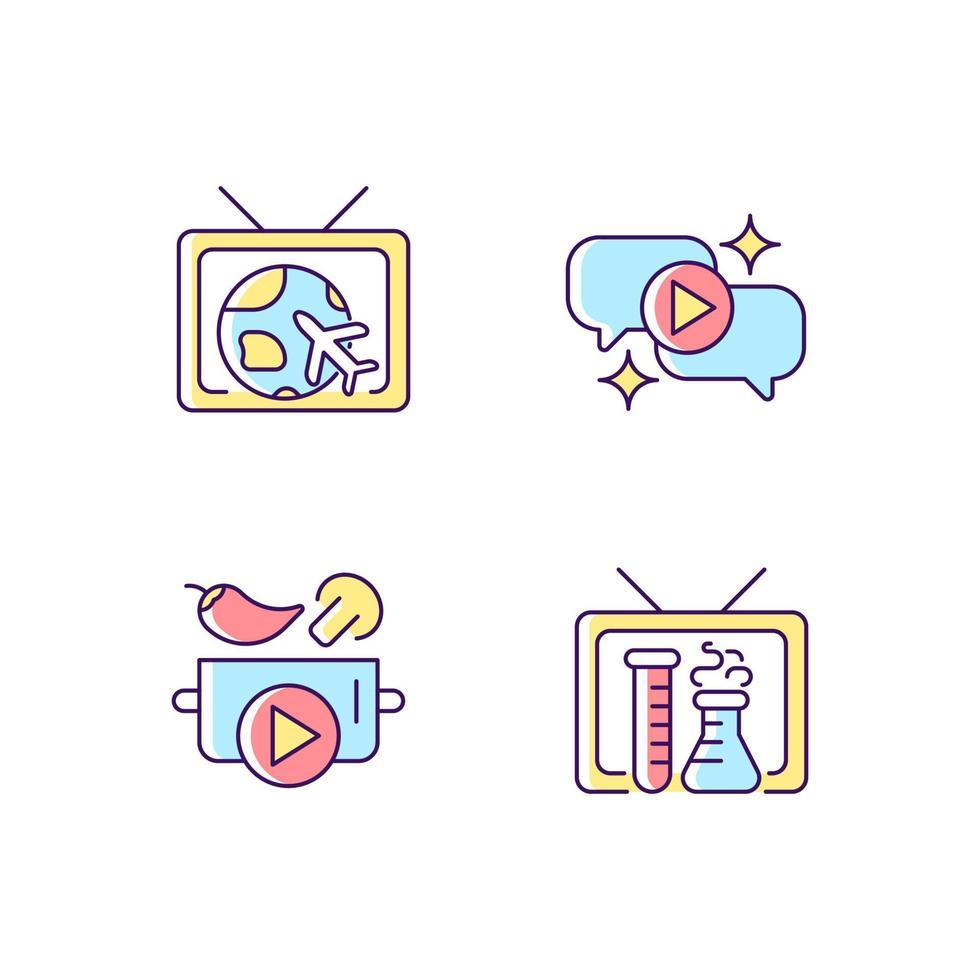conjunto de ícones de cores rgb da série de tv vetor