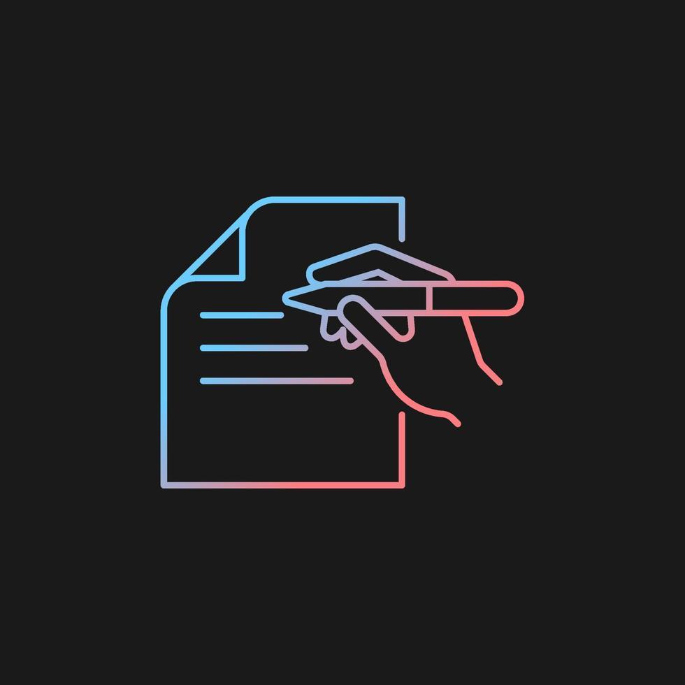 ícone de vetor gradiente de comunicação escrita para tema escuro