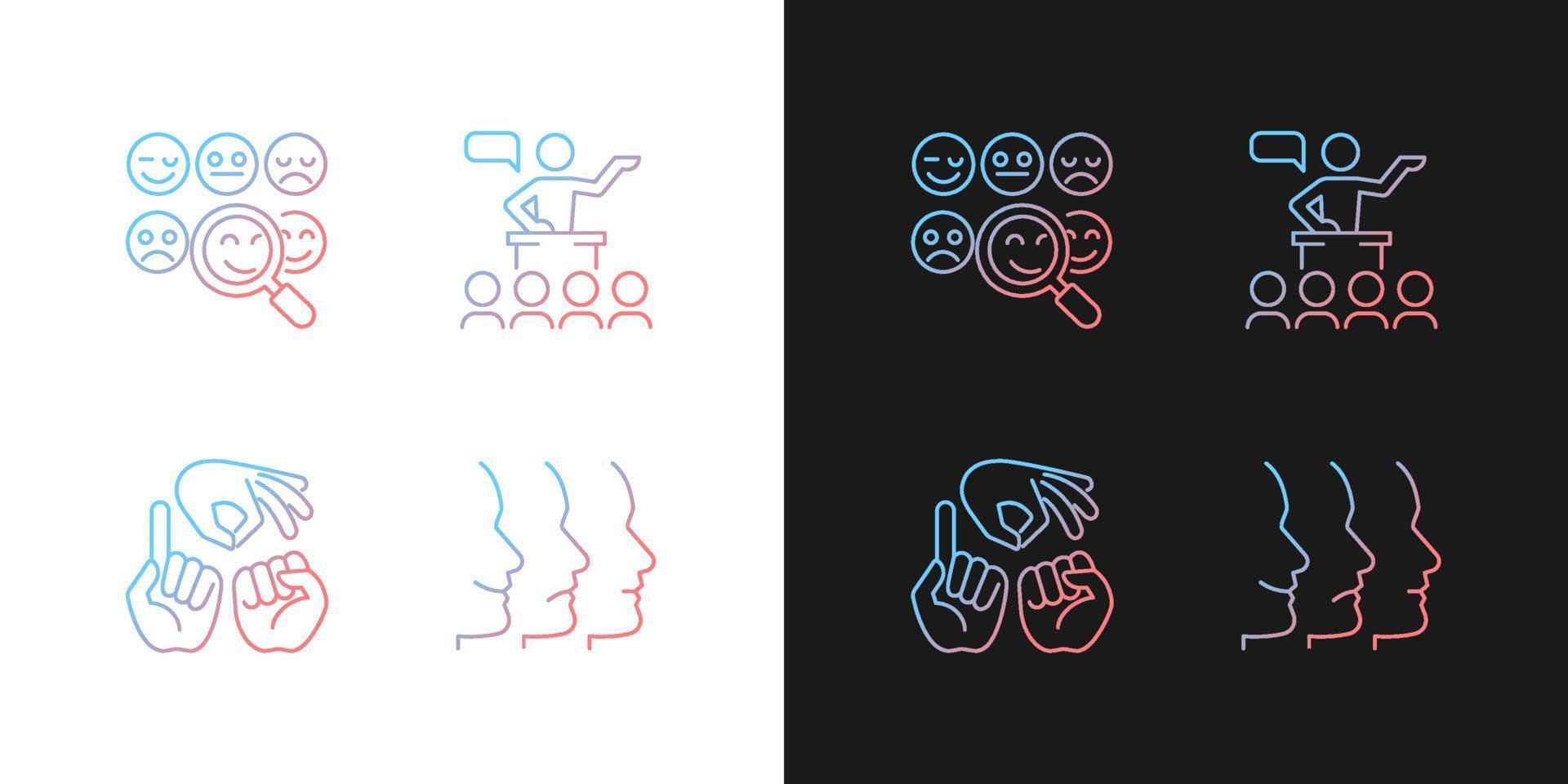 construir relacionamentos com pessoas ícones gradientes definidos para o modo claro e escuro vetor