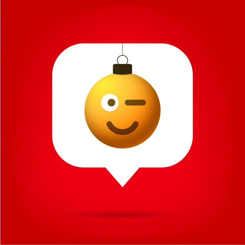 cartão ou panfleto de Natal emoji realista smile bola em como contador, seguidor de comentário e ilustração em vetor símbolo de notificação. notificação de feliz natal e feliz ano novo