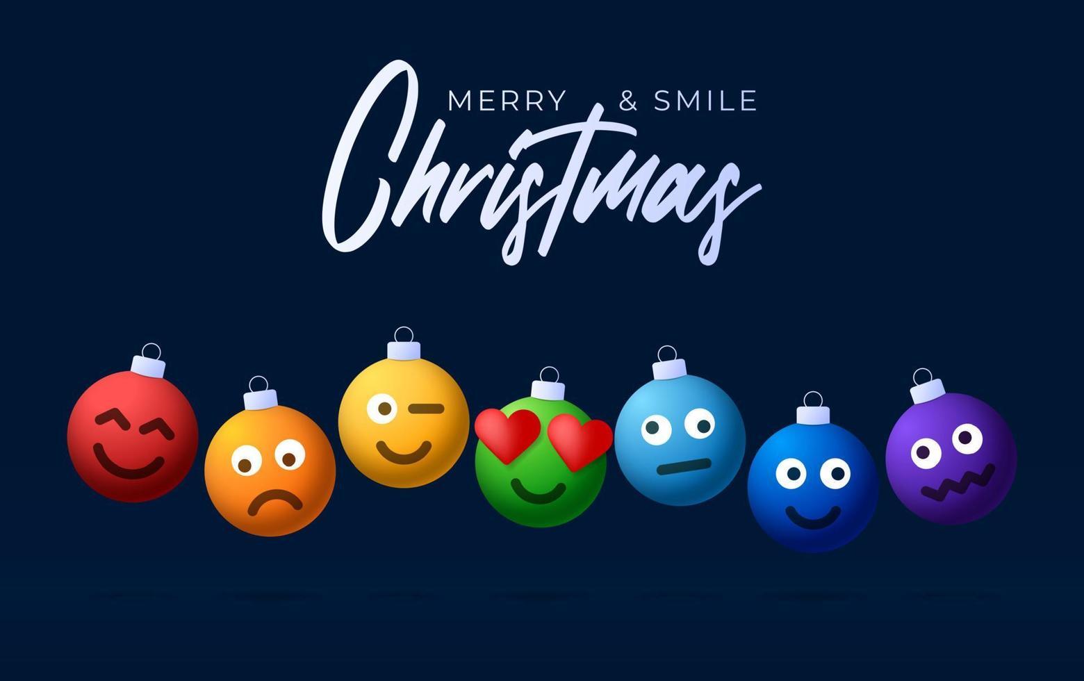 bolas de arco-íris de feliz Natal com cartão de saudação de rosto bonito. emoticons em brinquedos de bolhas. vetor para árvore de Natal de férias de decoração. elemento de design banner de venda de feliz ano novo, folheto, cartaz, plano de fundo