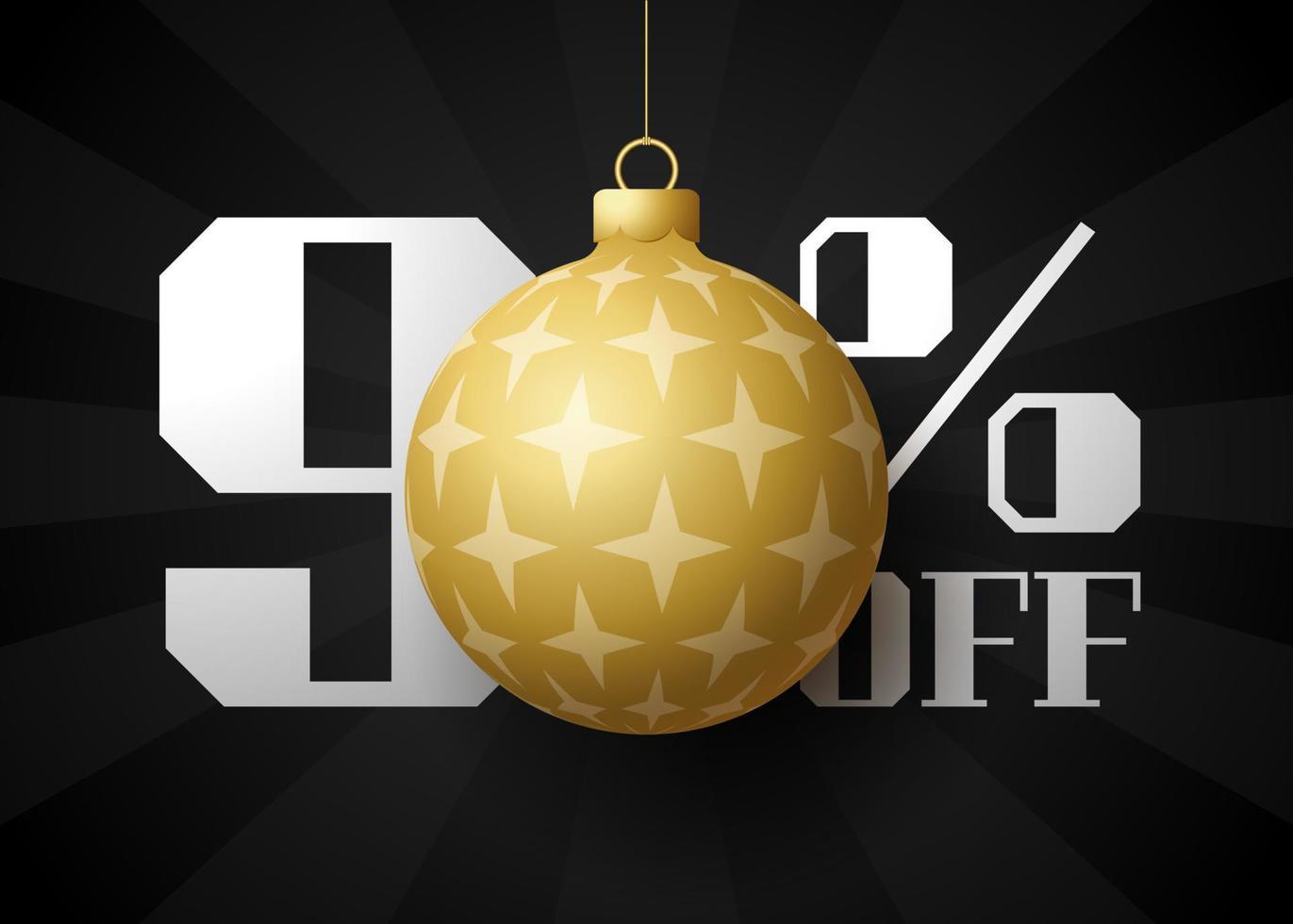 banner de grande venda de feliz Natal. venda de natal de luxo com 90% de desconto no modelo de banner real preto com bola dourada decorada pendurada em um fio. feliz ano novo e ilustração vetorial de natal vetor