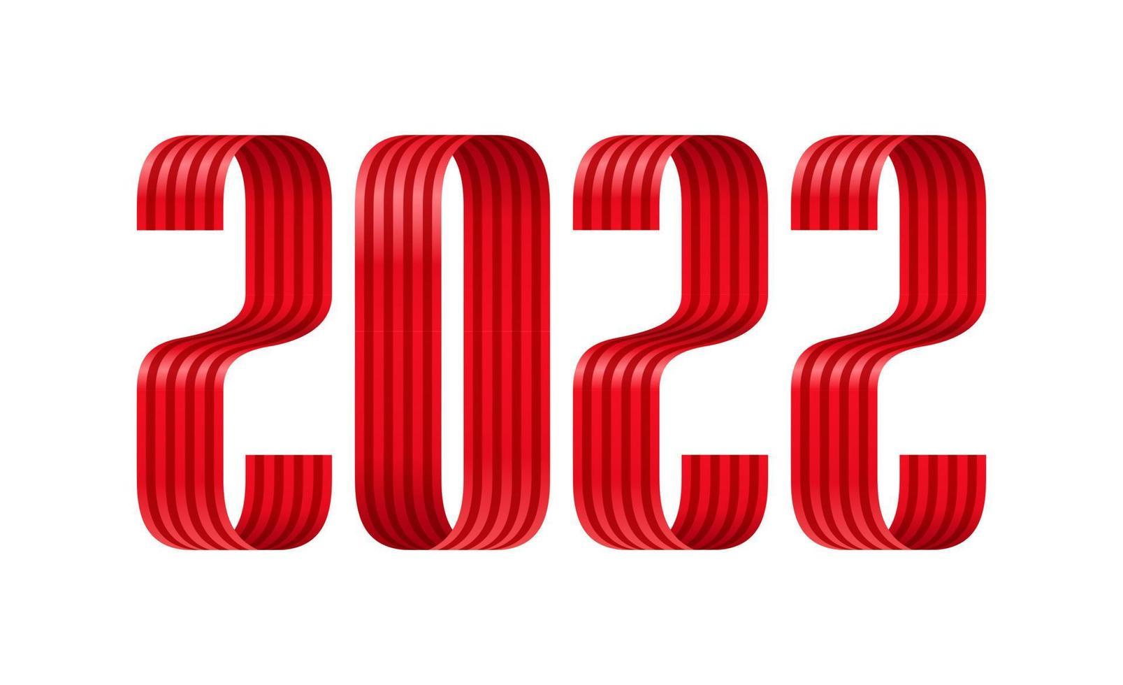 2022 cartão de felicitações de fonte vermelha de fita de feliz ano novo. design de ano novo e Natal para calendário, cartões ou impressão. fundos modernos de design minimalista. vetor