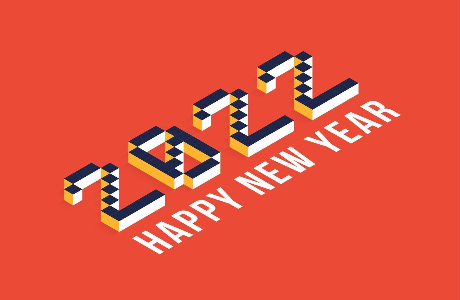Arte de ilustração vetorial isométrica de ano 2022 novo. elementos de decoração de férias de vetor mínimo de 2022 para design, cartão postal, cartões comemorativos e convites ou panfleto