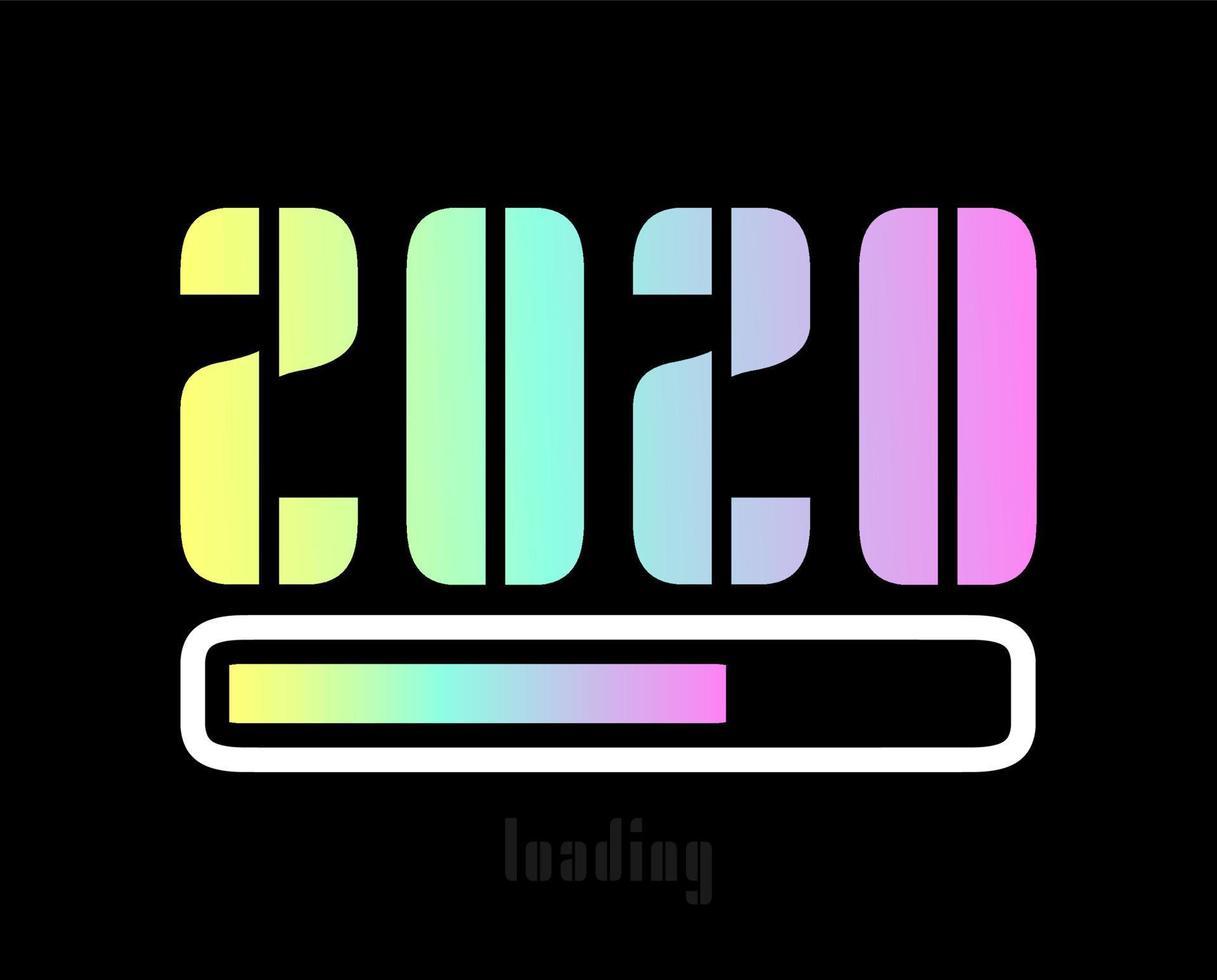 Design de barra de carregamento holográfico de ano novo de 2022 em fundo preto. citação engraçada sobre o ano novo 2022. design tipográfico para cartaz de férias de inverno, impressão de camiseta. ilustração vetorial vetor