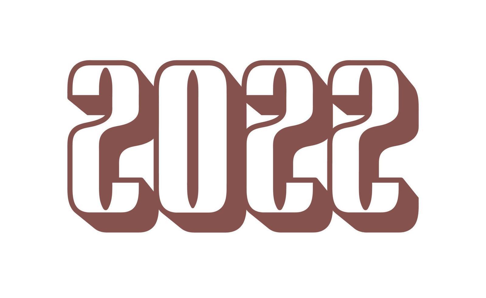 feliz ano novo 2022 com estilo de esporte de ilustração de vetor de números. design de ano novo para calendário, cartões ou impressão. banner de fundos na moda de design minimalista, capa, cartão. ilustração vetorial.