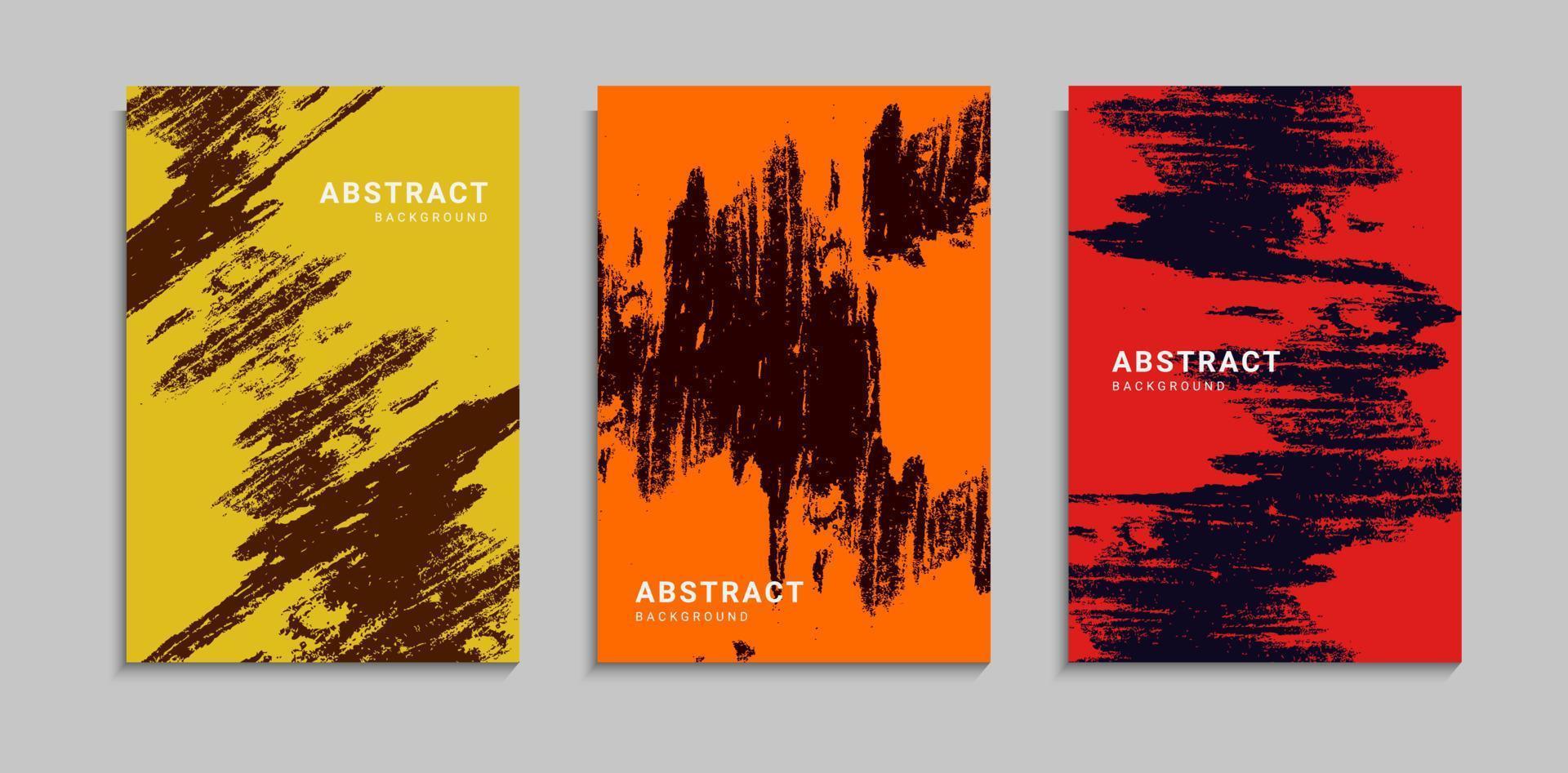 conjunto de modelo de fundo de capa colorida abstrata grunge scratch texture vetor