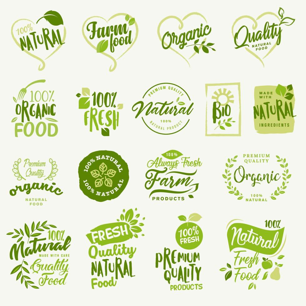 conjunto de etiquetas e emblemas para alimentos e bebidas orgânicos e produtos naturais vetor