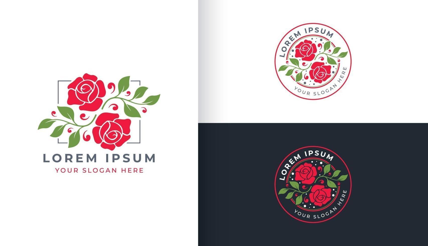design de logotipo de flor rosa vetor