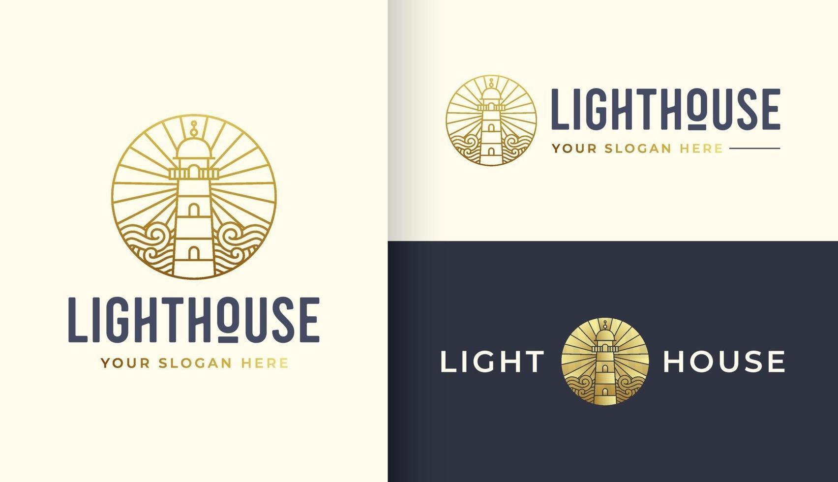 modelo de design de logotipo de farol com elemento de água do oceano vetor