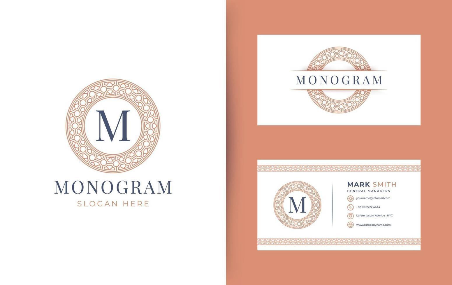 Logotipo da letra do monograma m com design de emblema de círculo geométrico, modelo de logotipo de monograma de cartão de visita mínimo vintage vetor