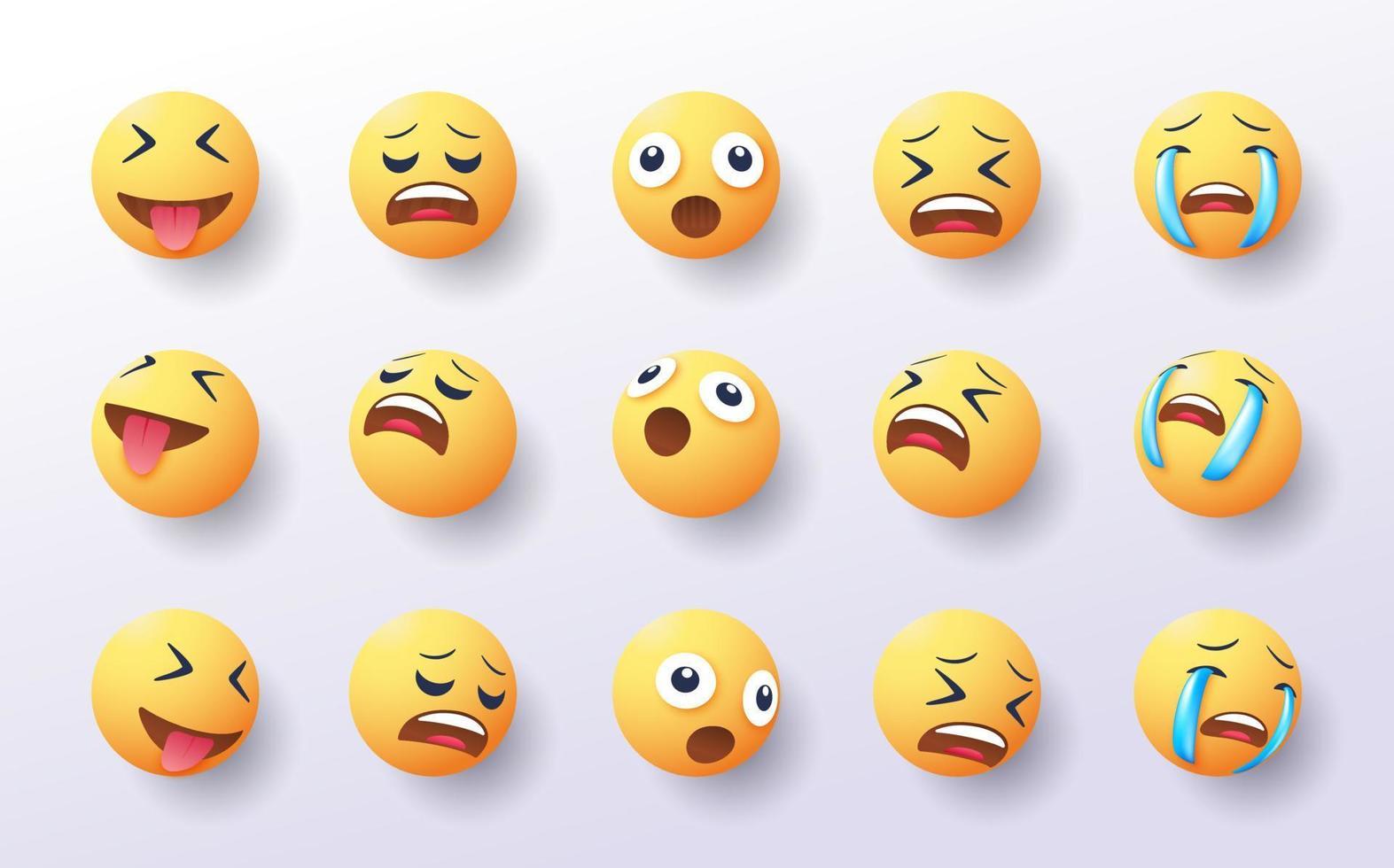 conjunto de emoji 3d em vários pontos de vista vetor