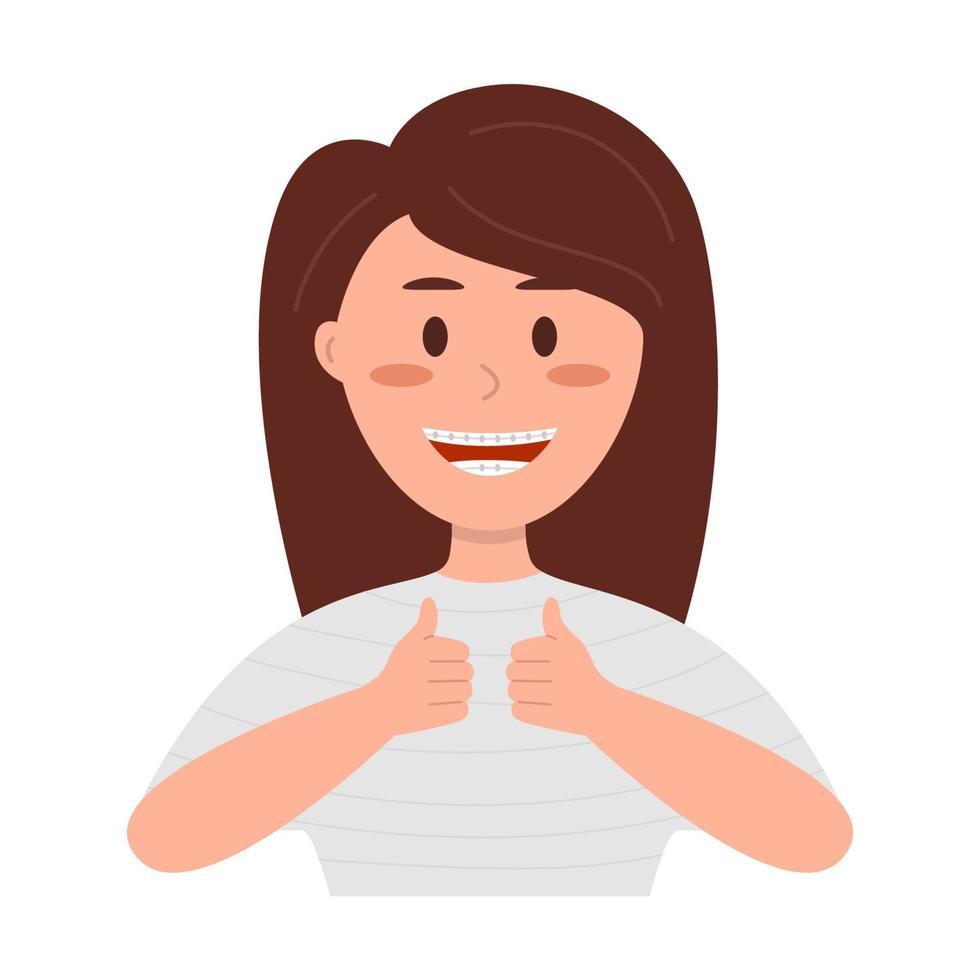 menina adolescente com aparelho mostrando o polegar para cima vetor