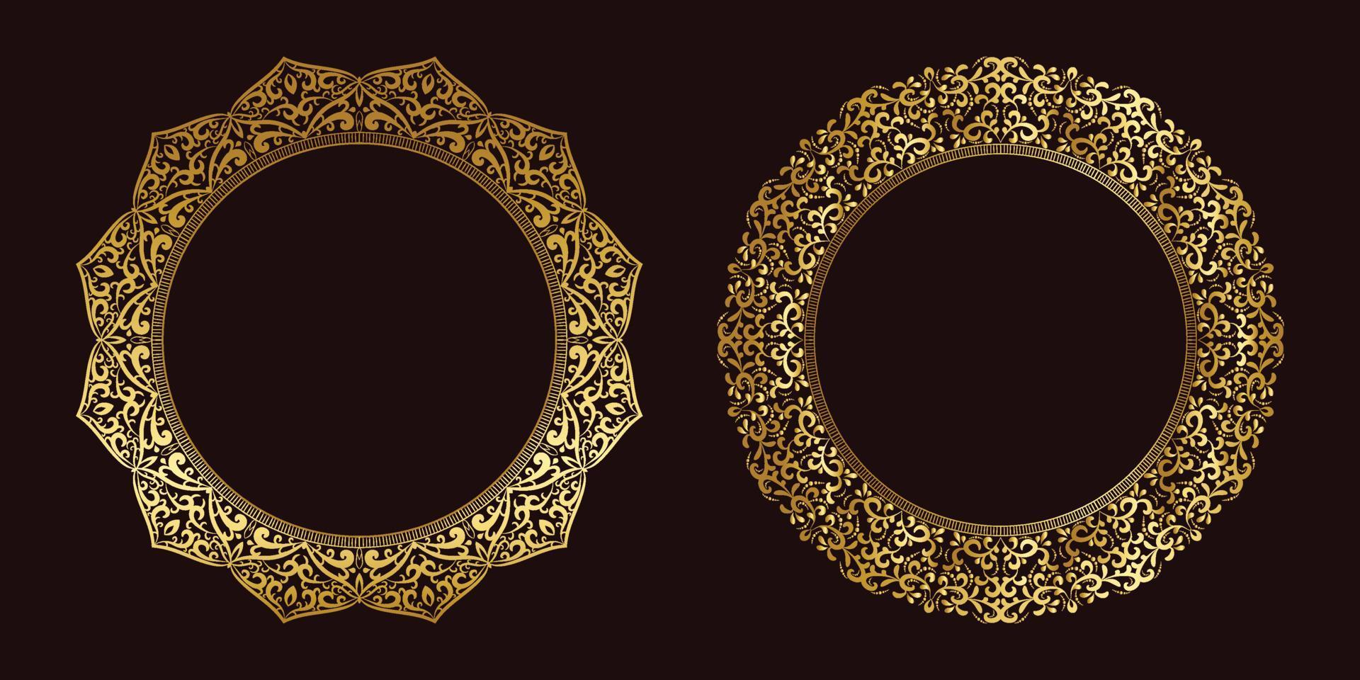 quadro de luxo definido conceito de flor de mandala dourada vetor