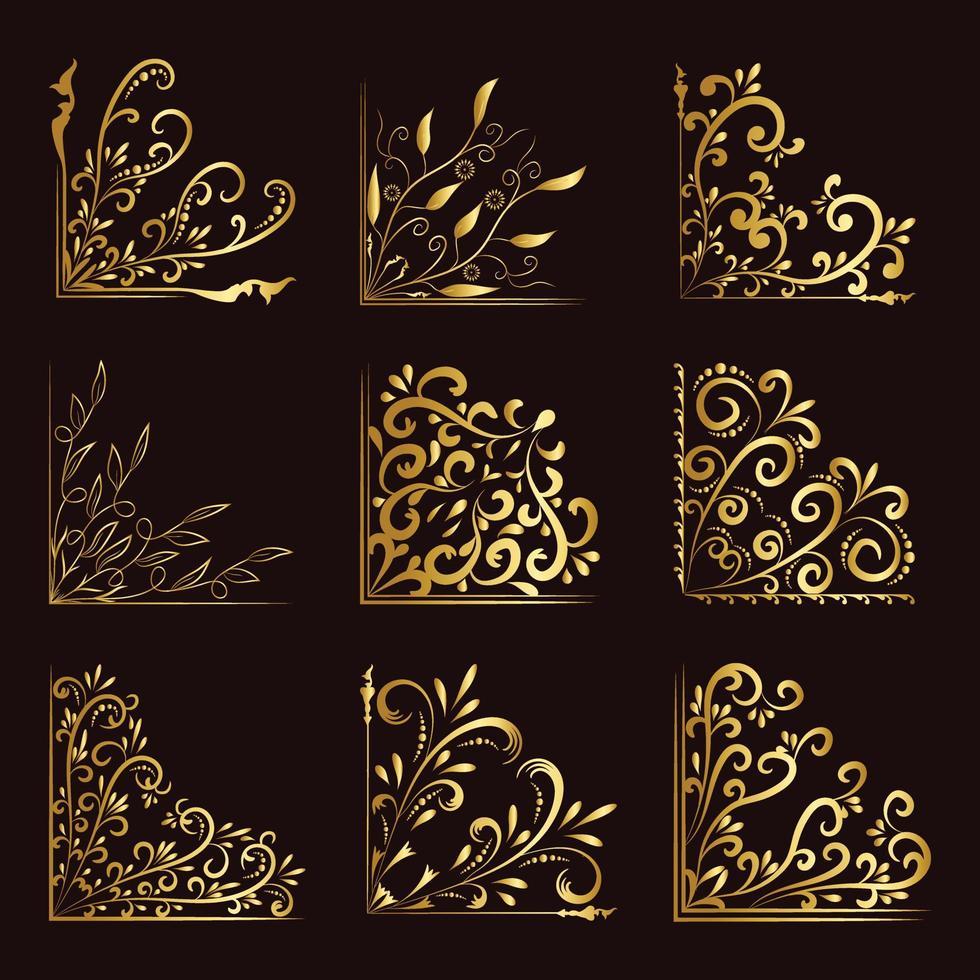 conceito floral dourado de canto de luxo vetor