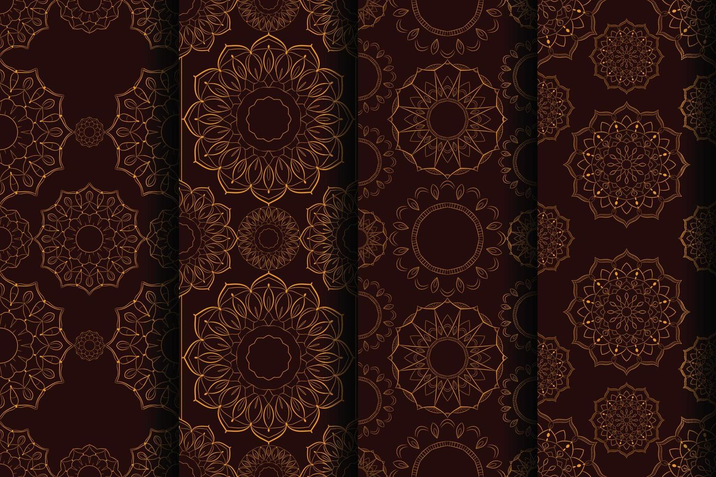 conjunto de mandala padrão sem costura luxo criativo vetor