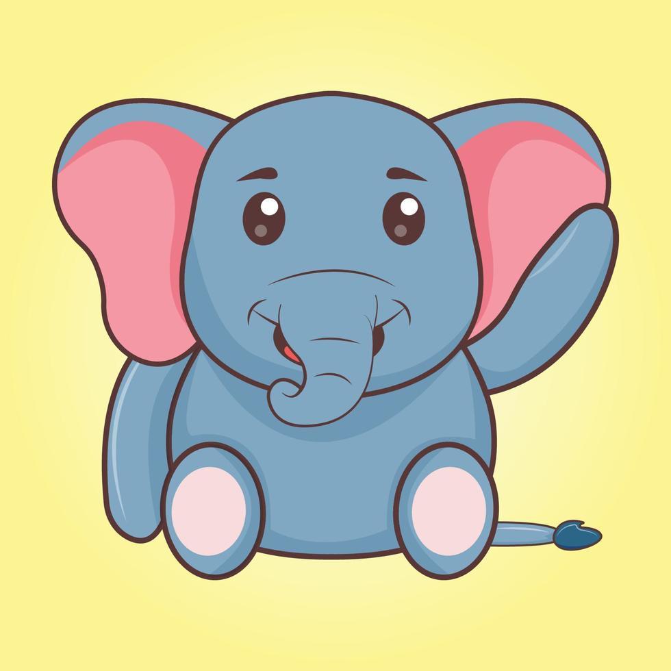 desenho animado bonito elefante acenando vetor