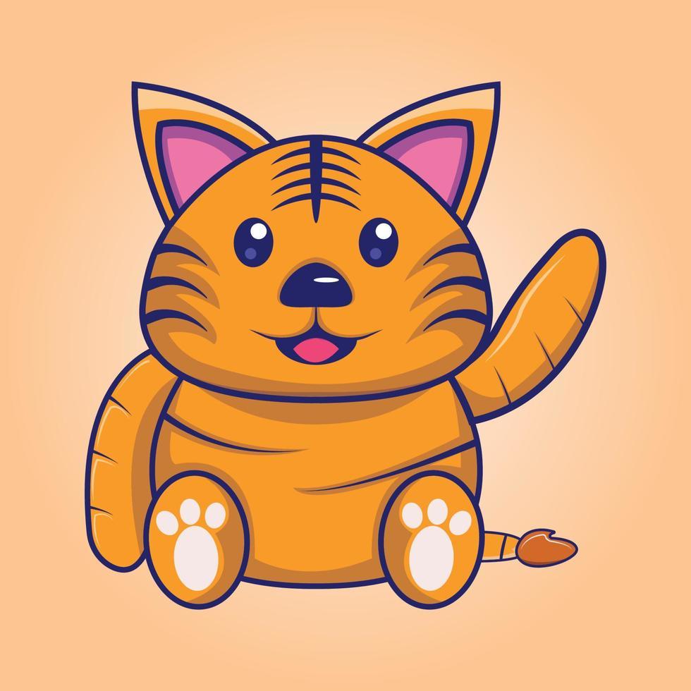 desenho de gato fofo acenando vetor