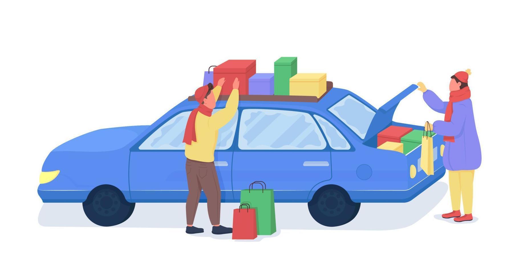 homens vagando malas no carro personagens de vetor de cor semi-plana