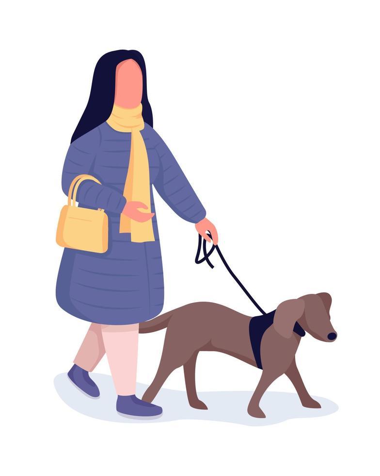 mulher com cachorro personagem de vetor de cor semi-plana